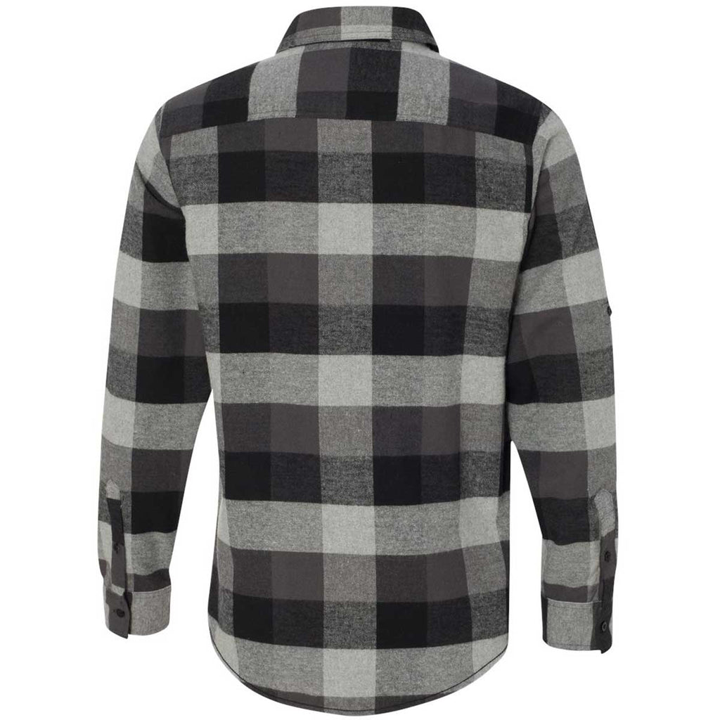Burnside Men's Black/Grey Yarn-Dyed Long Sleeve Flannel Shirt