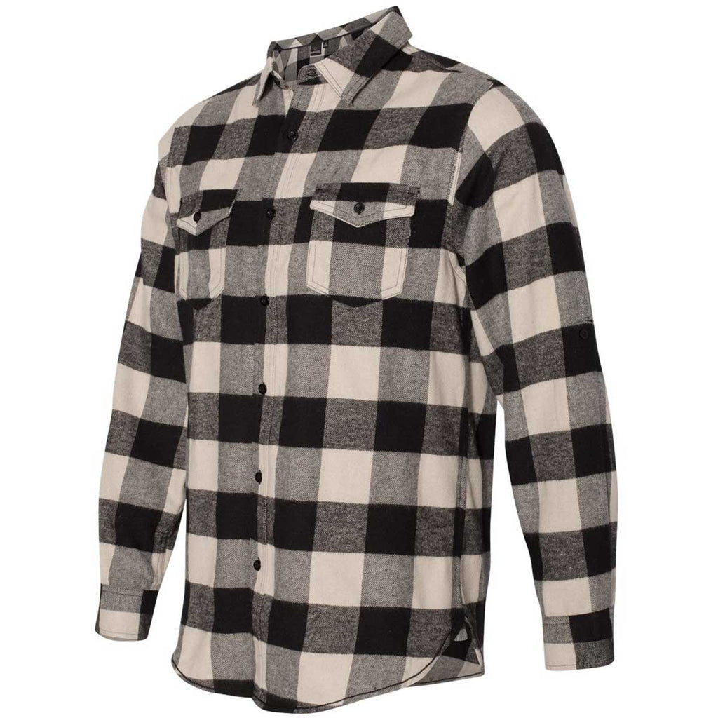 Burnside Men's Ecru/Black Buffalo Yarn-Dyed Long Sleeve Flannel Shirt
