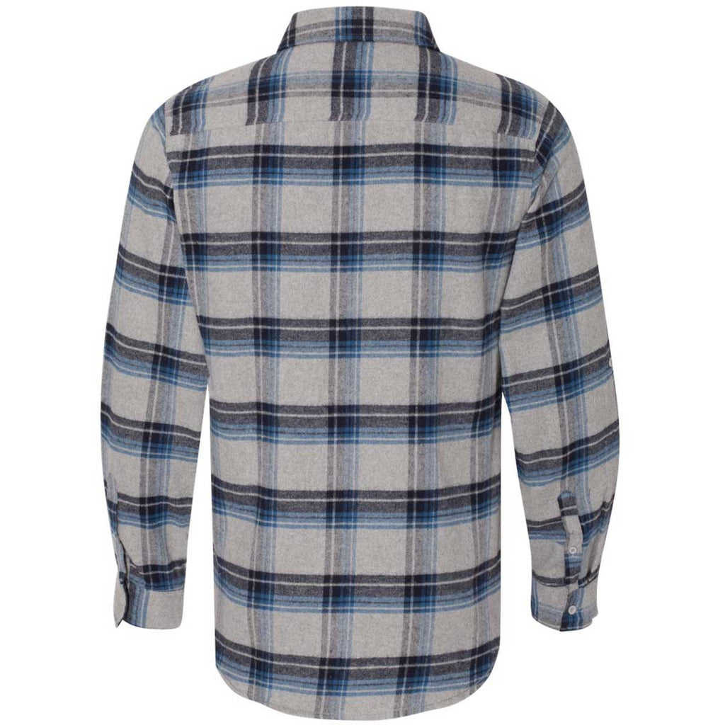 Burnside Men's Grey/Blue Yarn-Dyed Long Sleeve Flannel Shirt