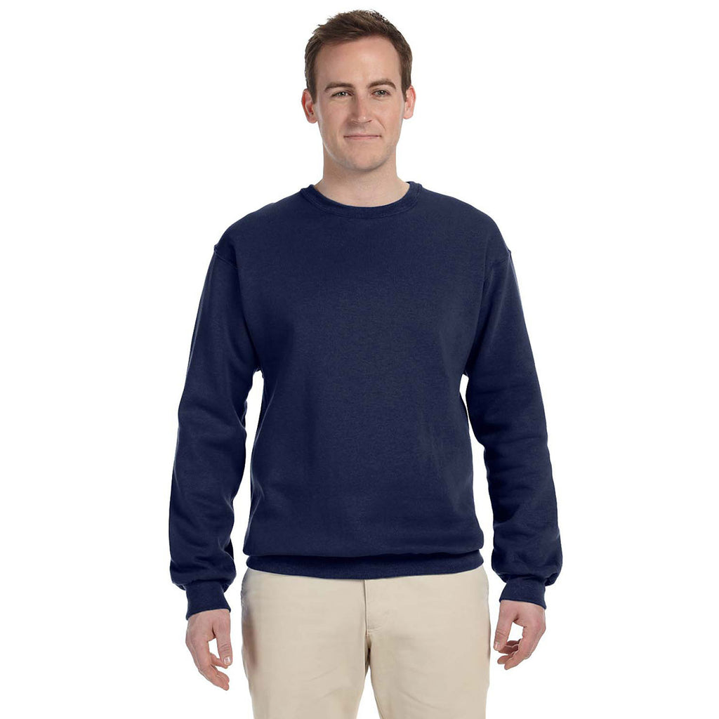 Fruit Of The Loom Mens J Navy 12 Oz Supercotton Fleece Crew