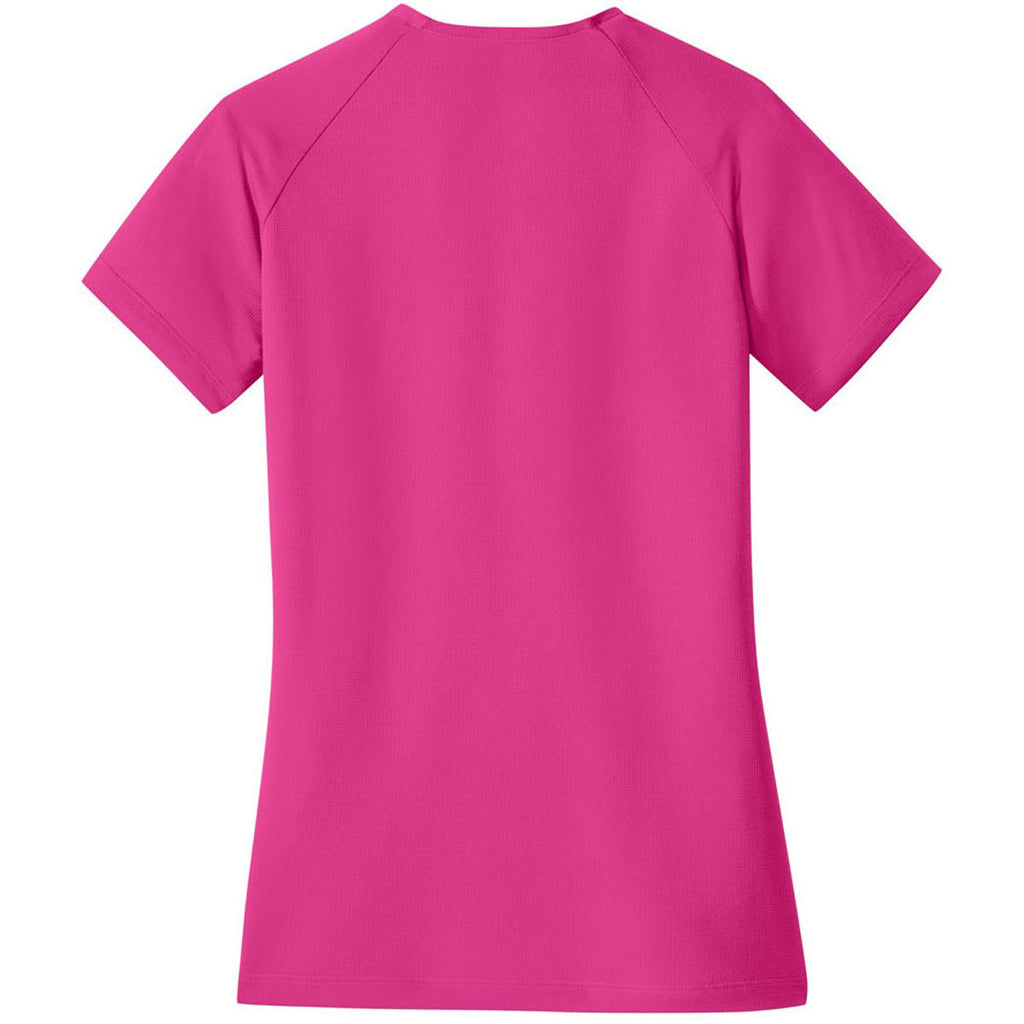 Nike Women's Sport Fuchsia Dri-FIT Stretch Woven V-Neck Top