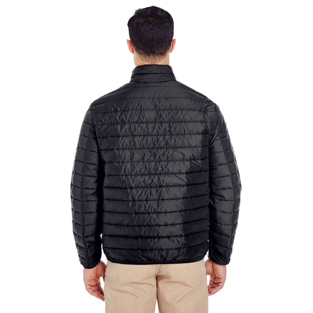 UltraClub Men's Black Quilted Puffy Jacket