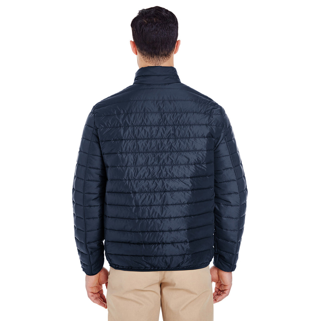 UltraClub Men's Navy Quilted Puffy Jacket