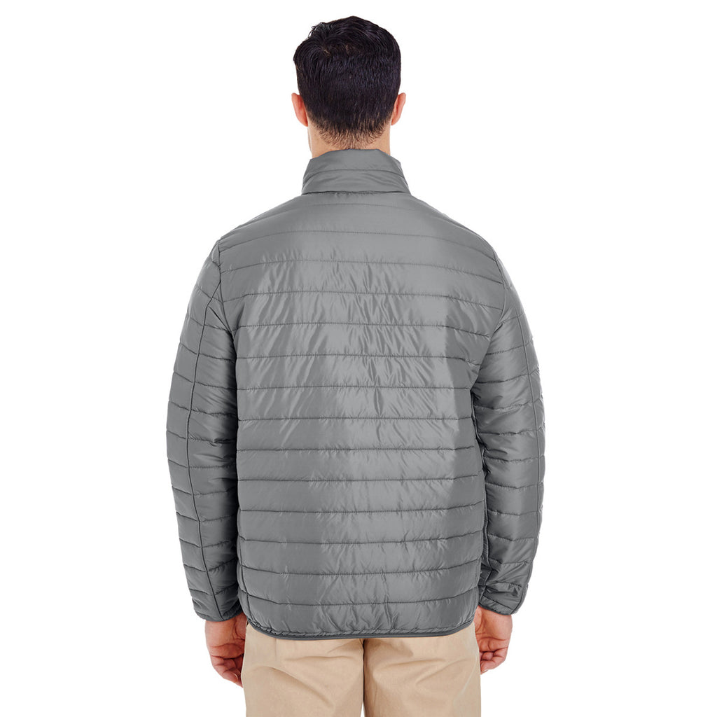 UltraClub Men's Silver Quilted Puffy Jacket