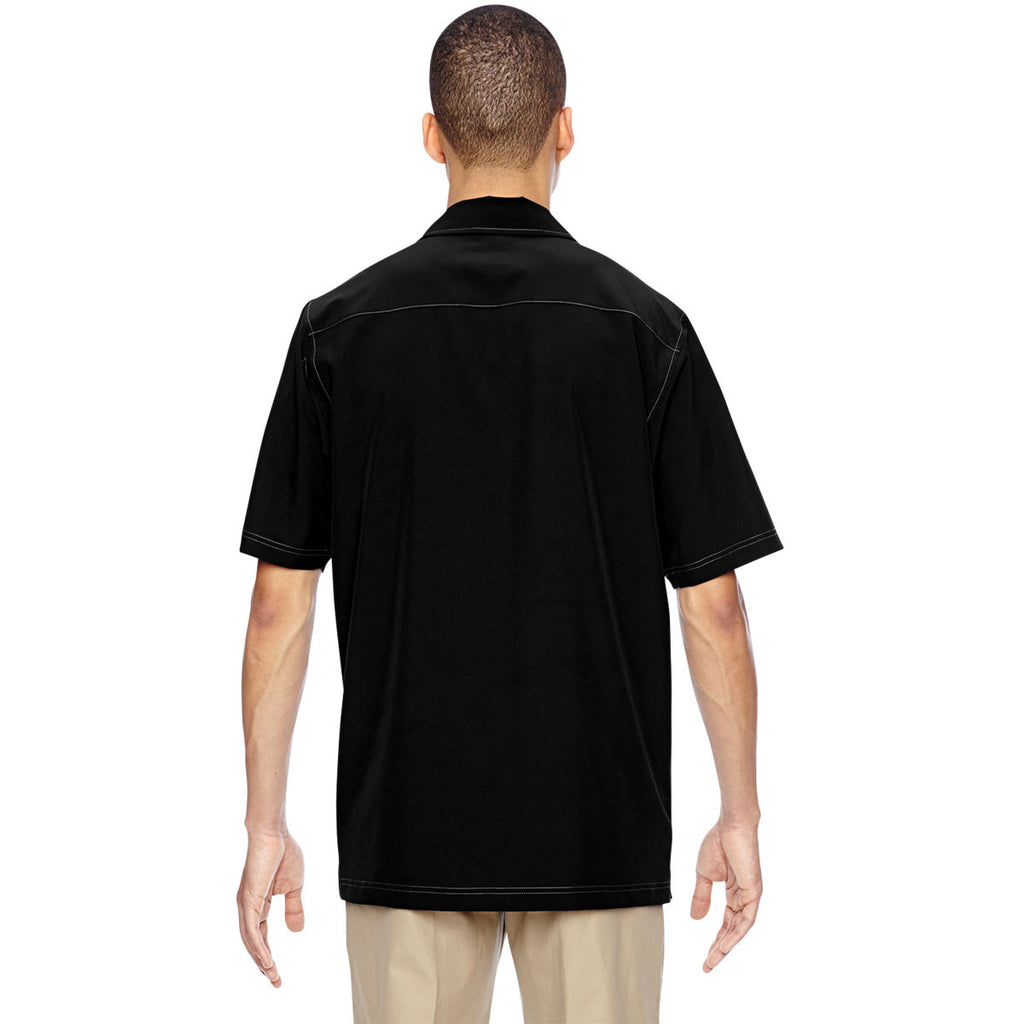 North End Men's Black Excursion Crosscheck Performance Woven Polo