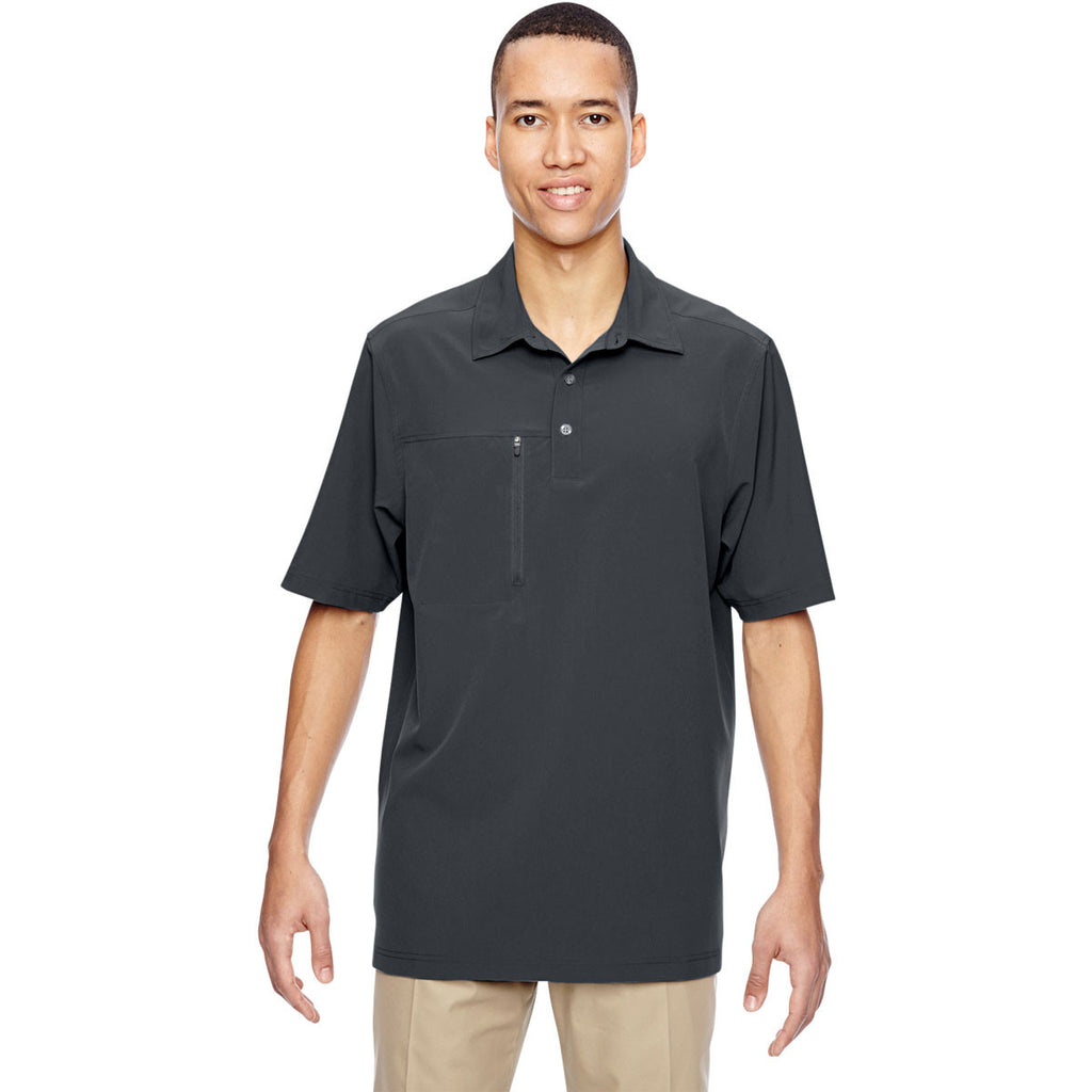 North End Men's Graphite Excursion Crosscheck Performance Woven Polo