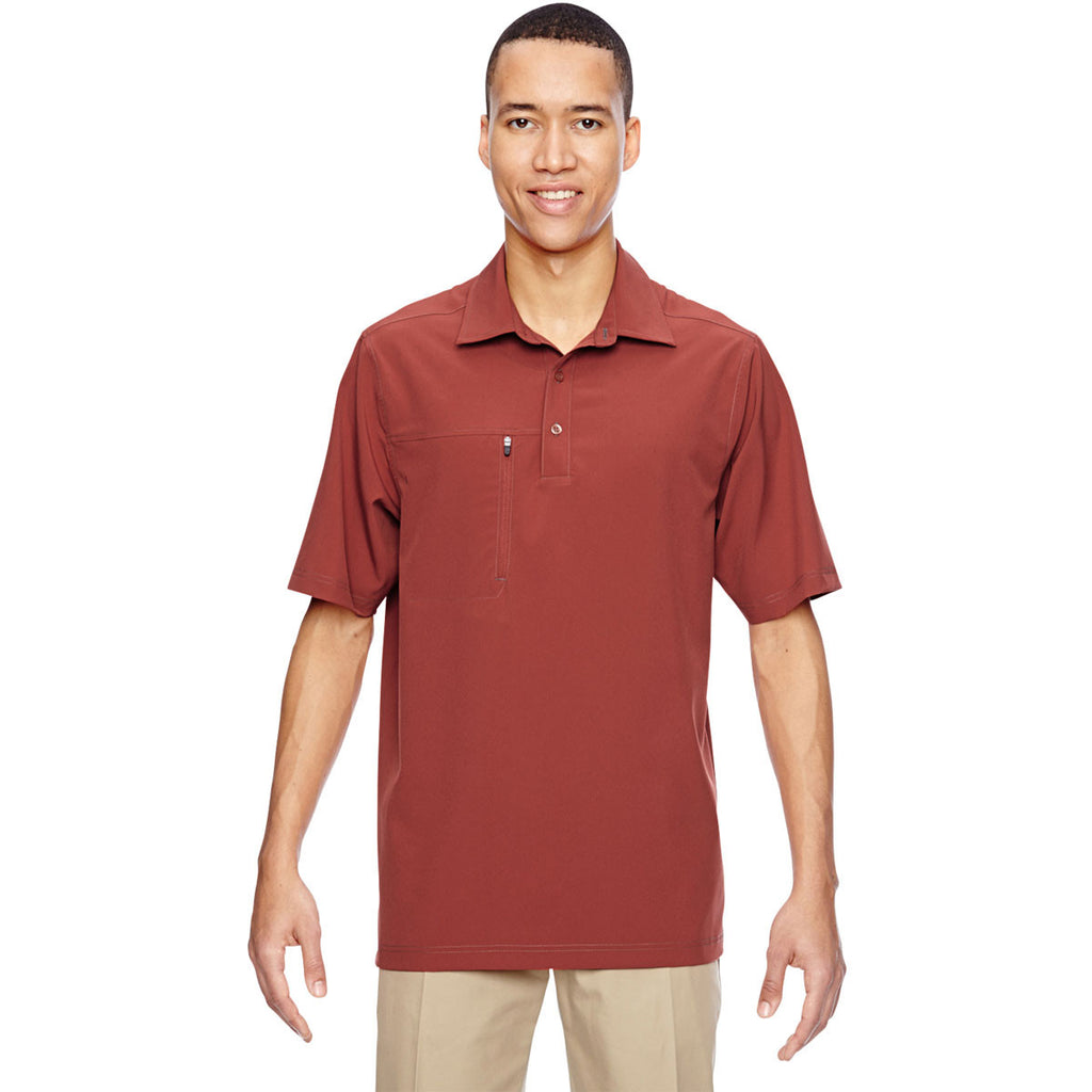 North End Men's Rust Excursion Crosscheck Performance Woven Polo