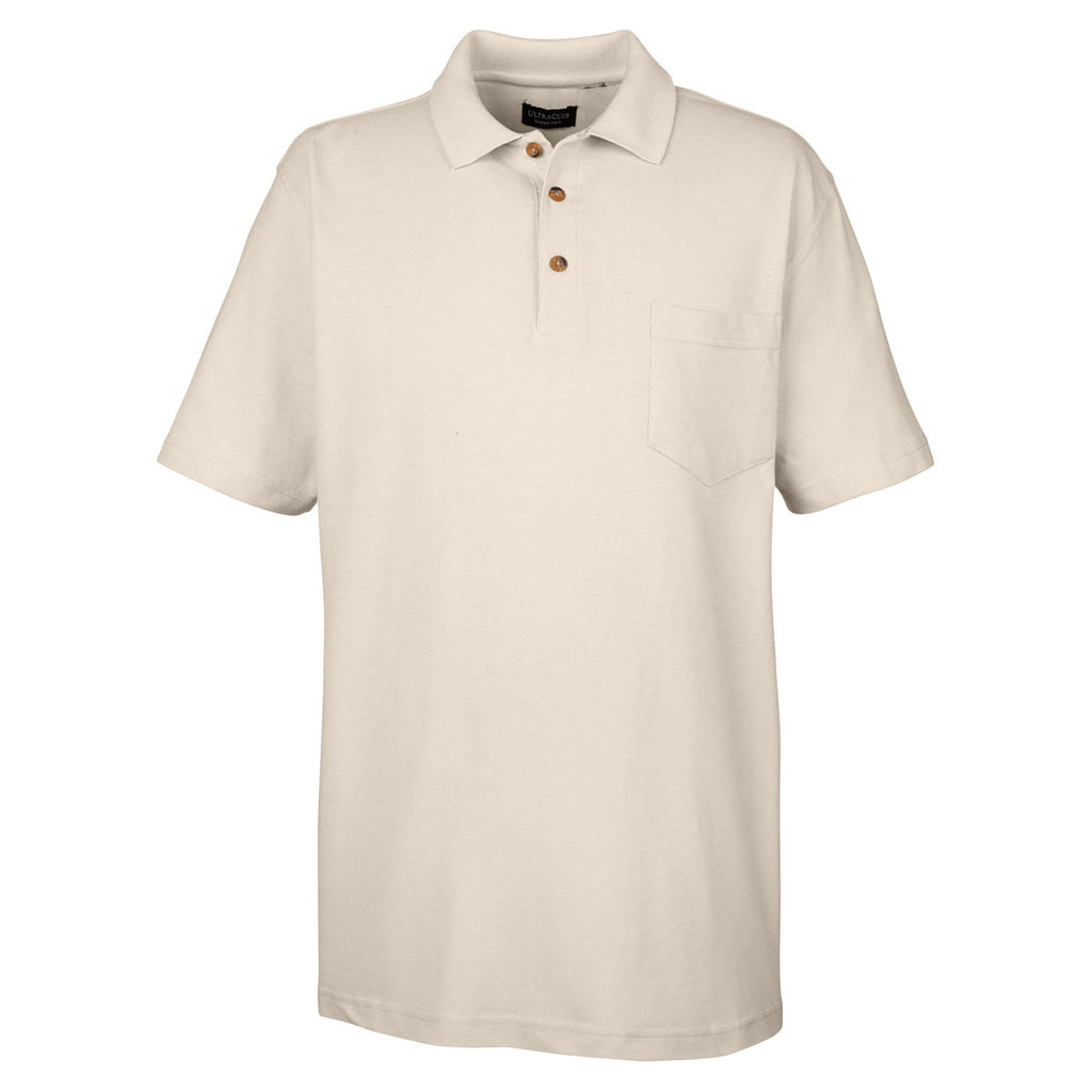 Ultraclub Mens Stone Classic Pique Polo With Pocket