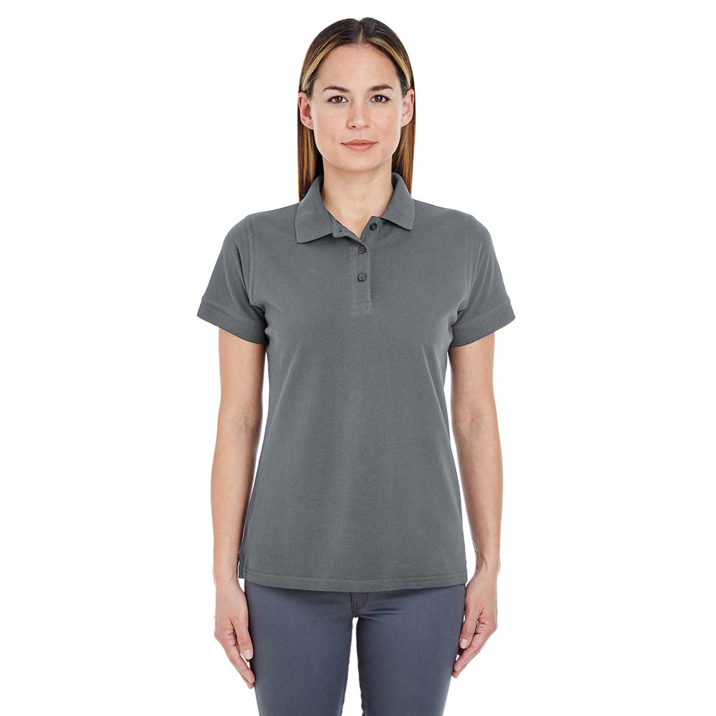 UltraClub Women's Charcoal Basic Pique Polo