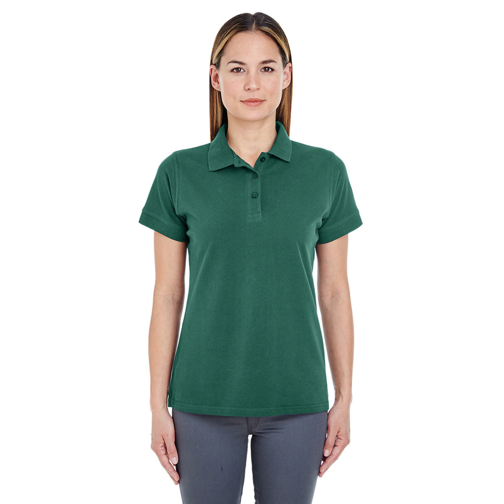 UltraClub Women's Forest Green Basic Pique Polo