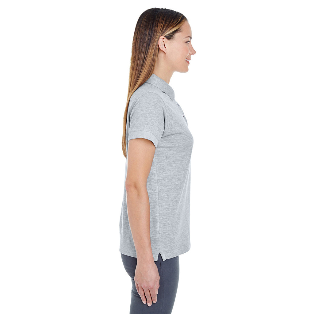 UltraClub Women's Heather Grey Basic Pique Polo
