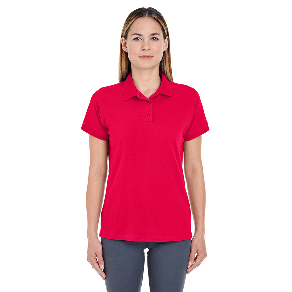 UltraClub Women's Red Basic Pique Polo