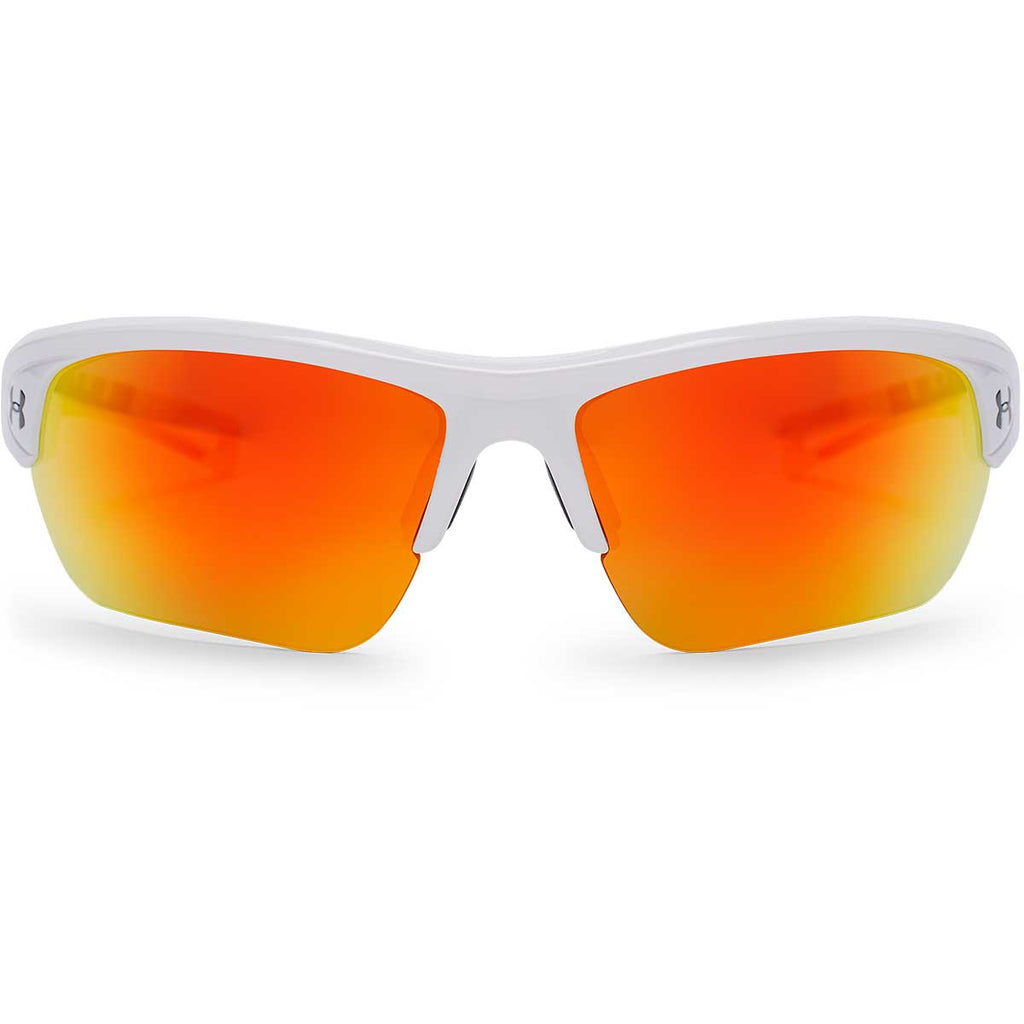 Under Armour Shiny White UA Octane With Orange Mirror Lens