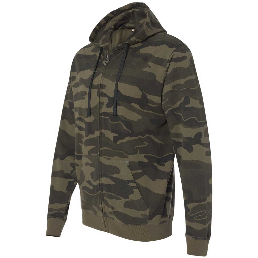Burnside Men's Green Camo Camo Hooded Full-Zip Sweatshirt