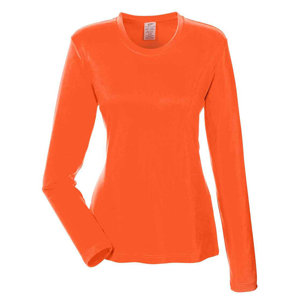 06e34f290bd UltraClub Women s Bright Orange Cool   Dry Performance Long-Sleeve Top. ADD  YOUR LOGO