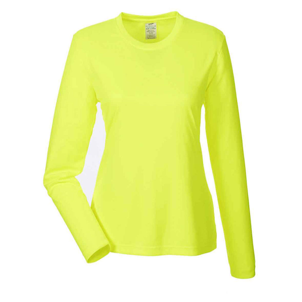 2a54d6284be UltraClub Women s Bright Yellow Cool   Dry Performance Long-Sleeve Top. ADD  YOUR LOGO