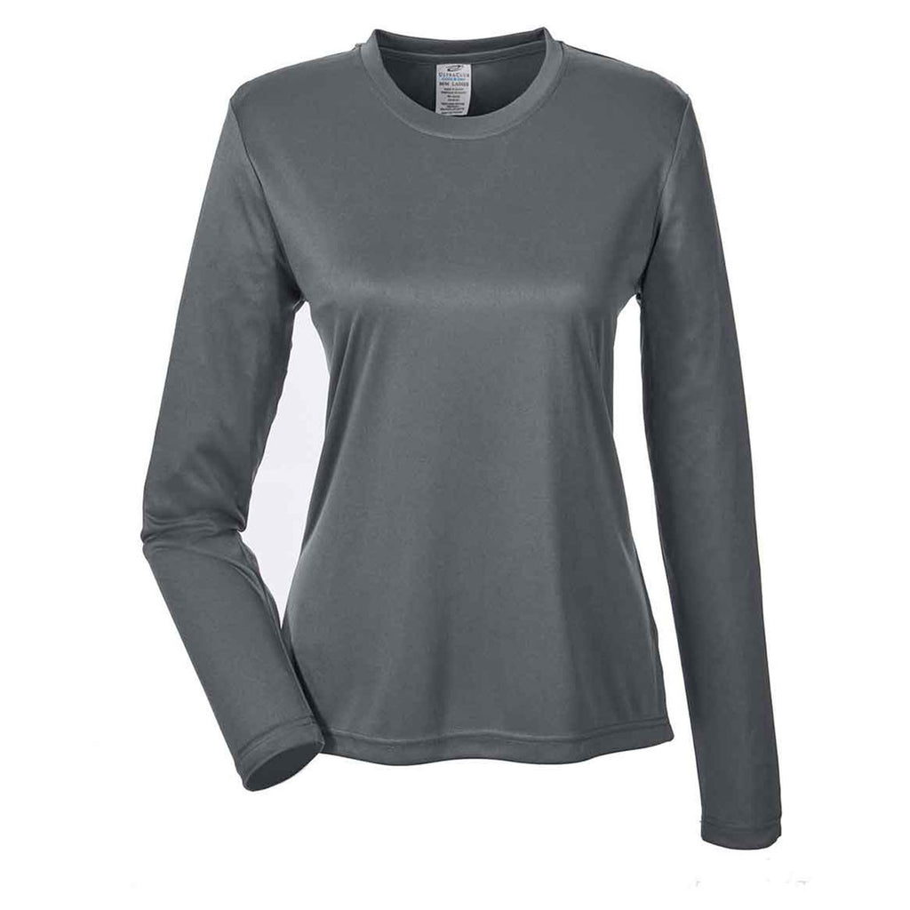 fab99e1feeb UltraClub Women s Charcoal Cool   Dry Performance Long-Sleeve Top. ADD YOUR  LOGO