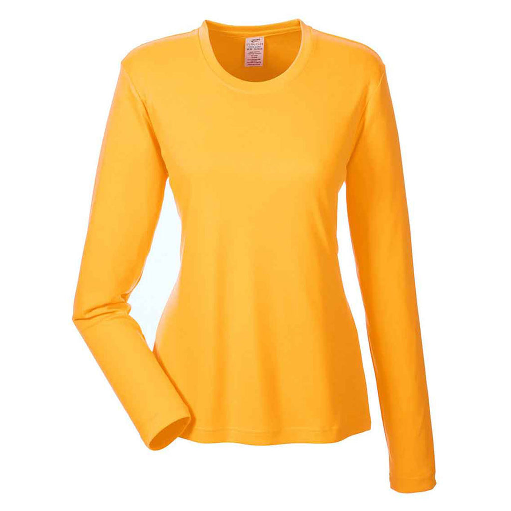 19367066c32 UltraClub Women s Gold Cool   Dry Performance Long-Sleeve Top. ADD YOUR LOGO