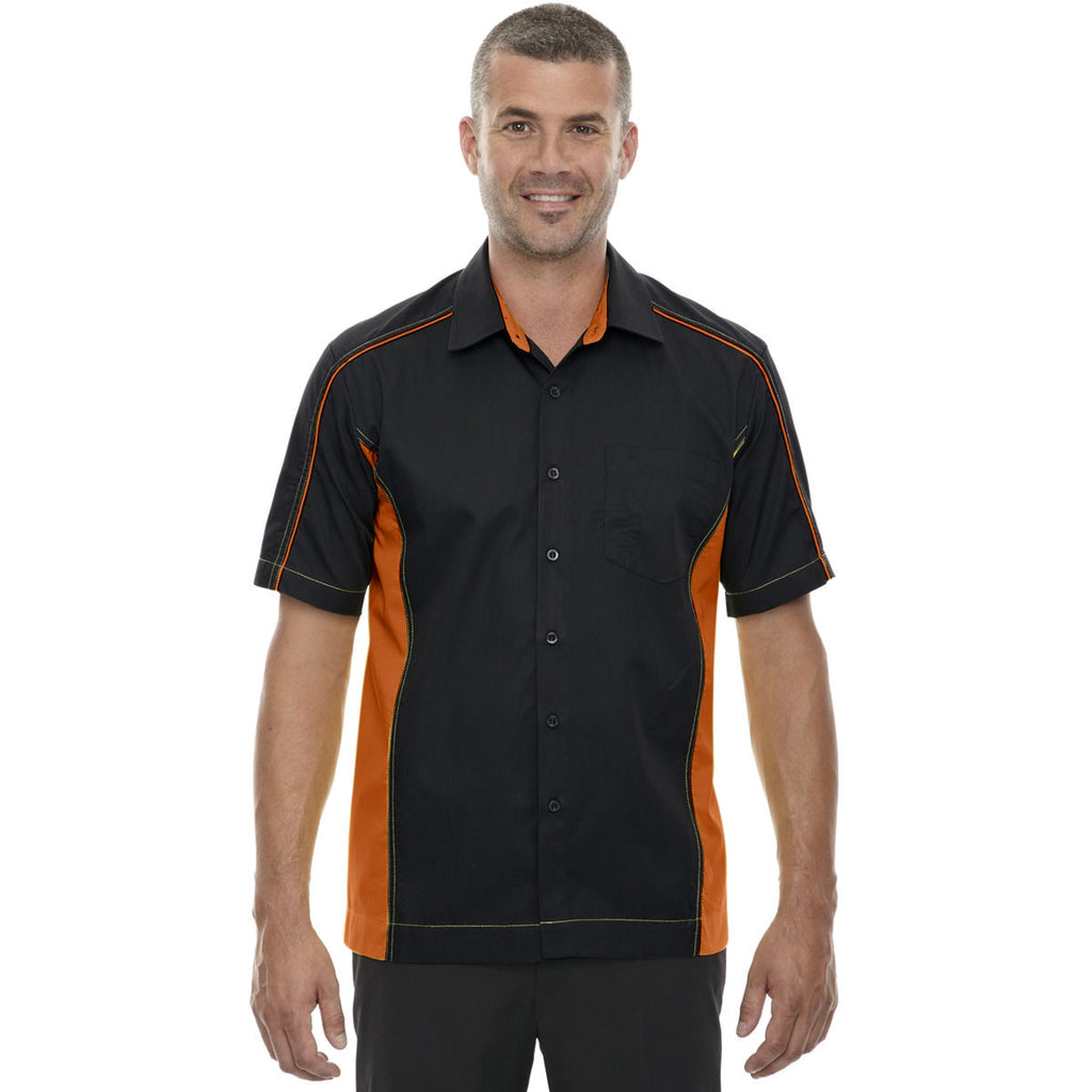 North End Men's Black/Orange Tall Fuse Colorblock Twill Shirt