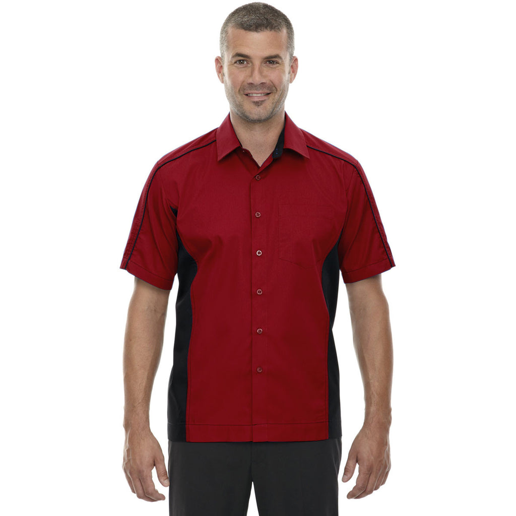 North End Men's Classic Red Tall Fuse Colorblock Twill Shirt