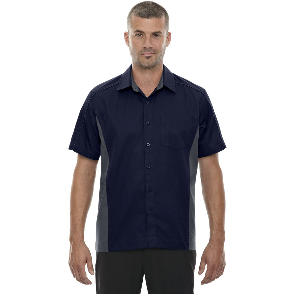 North End Men's Classic Navy Fuse Colorblock Twill Shirt