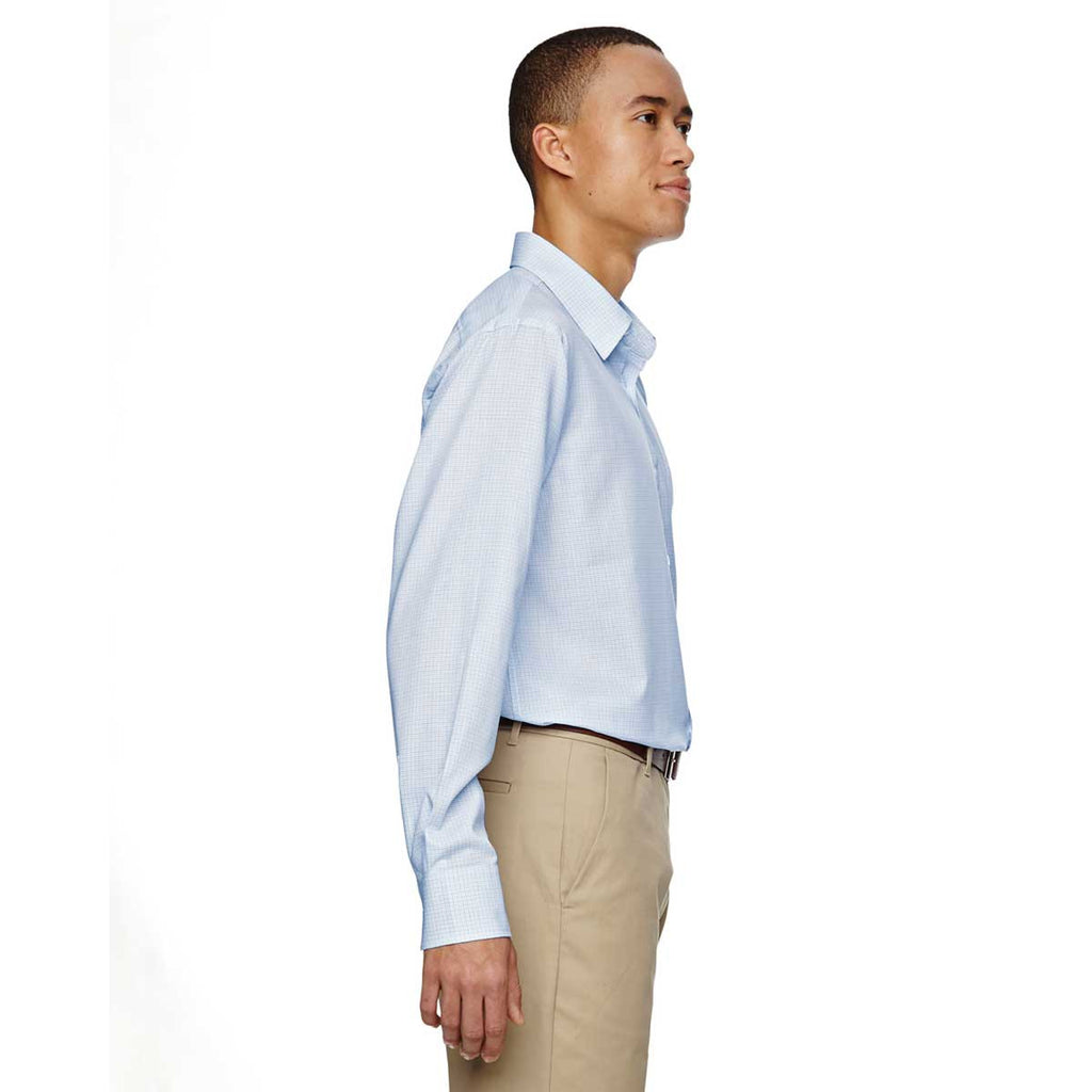 North End Men's Light Blue Paramount Twill Checkered Shirt