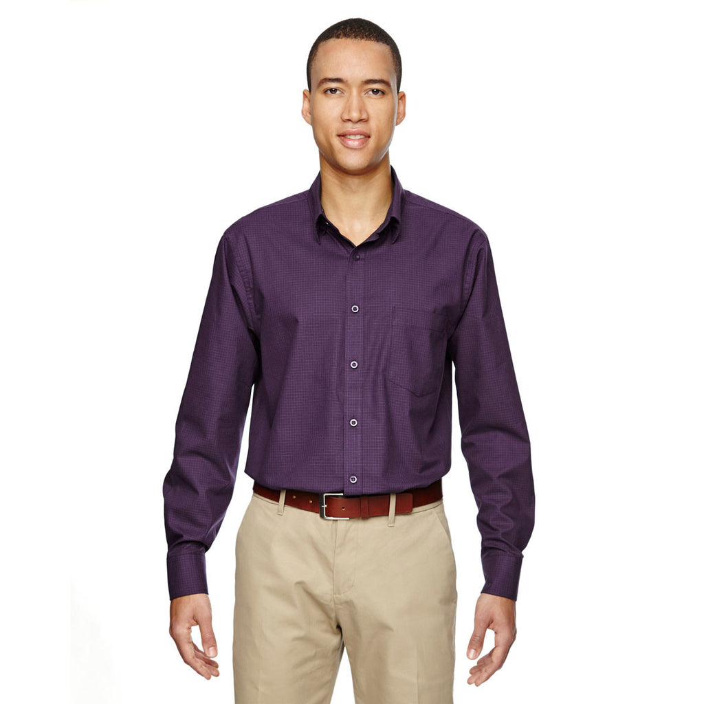 North End Men's Mulberry-Purple Paramount Twill Checkered Shirt