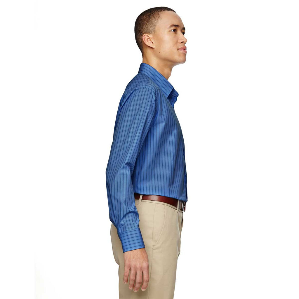 North End Men's Deep Blue Align Dobby Vertical Striped Shirt
