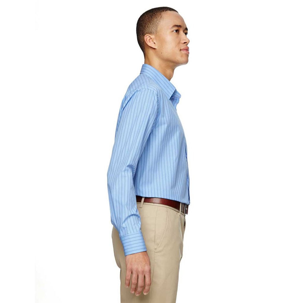 North End Men's Light Blue Align Dobby Vertical Striped Shirt