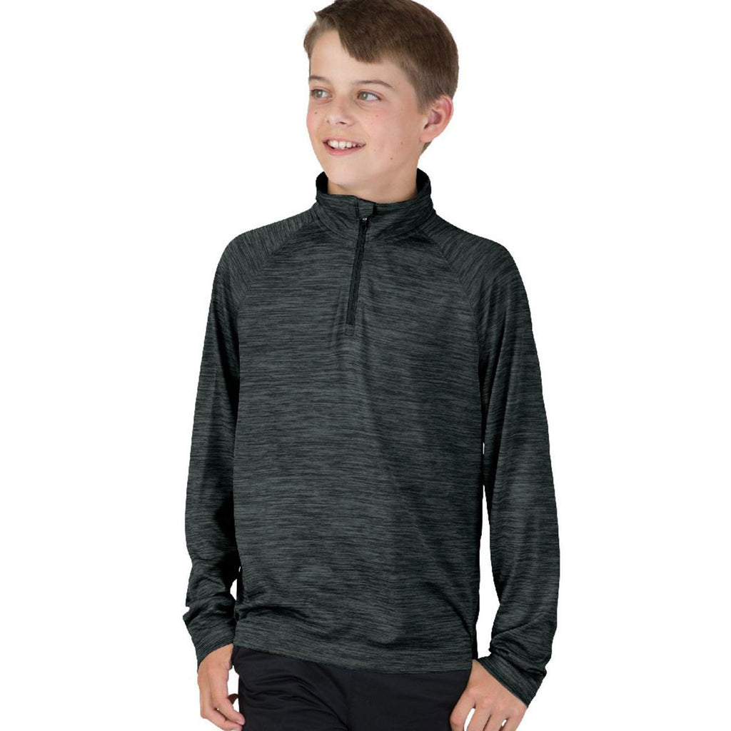 Charles River Youth Black Space Dye Performance Pullover