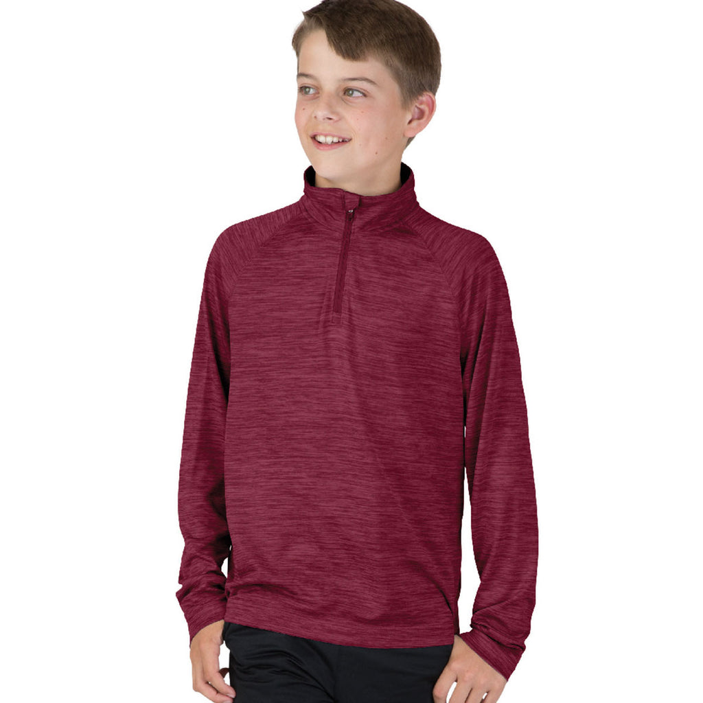Charles River Youth Maroon Space Dye Performance Pullover