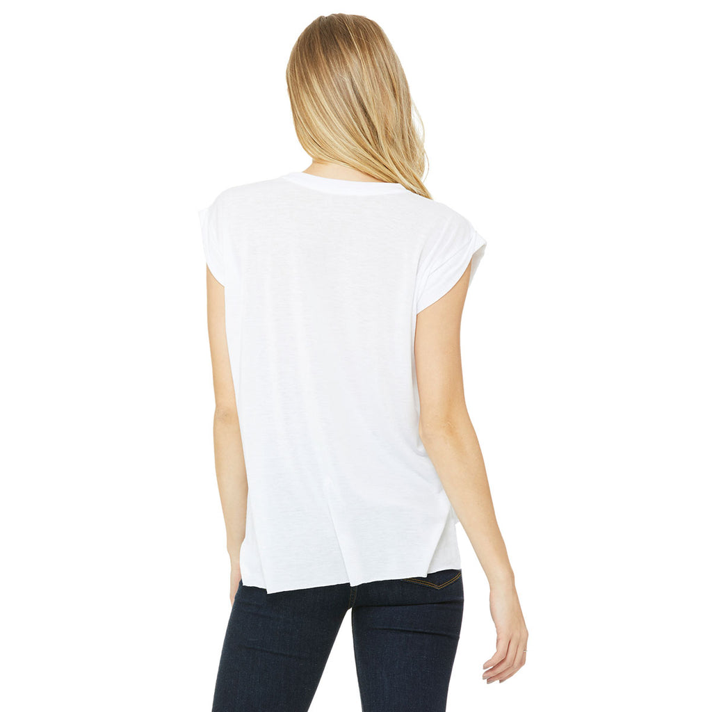 Bella + Canvas Women's White Flowy T-Shirt with Rolled Cuff