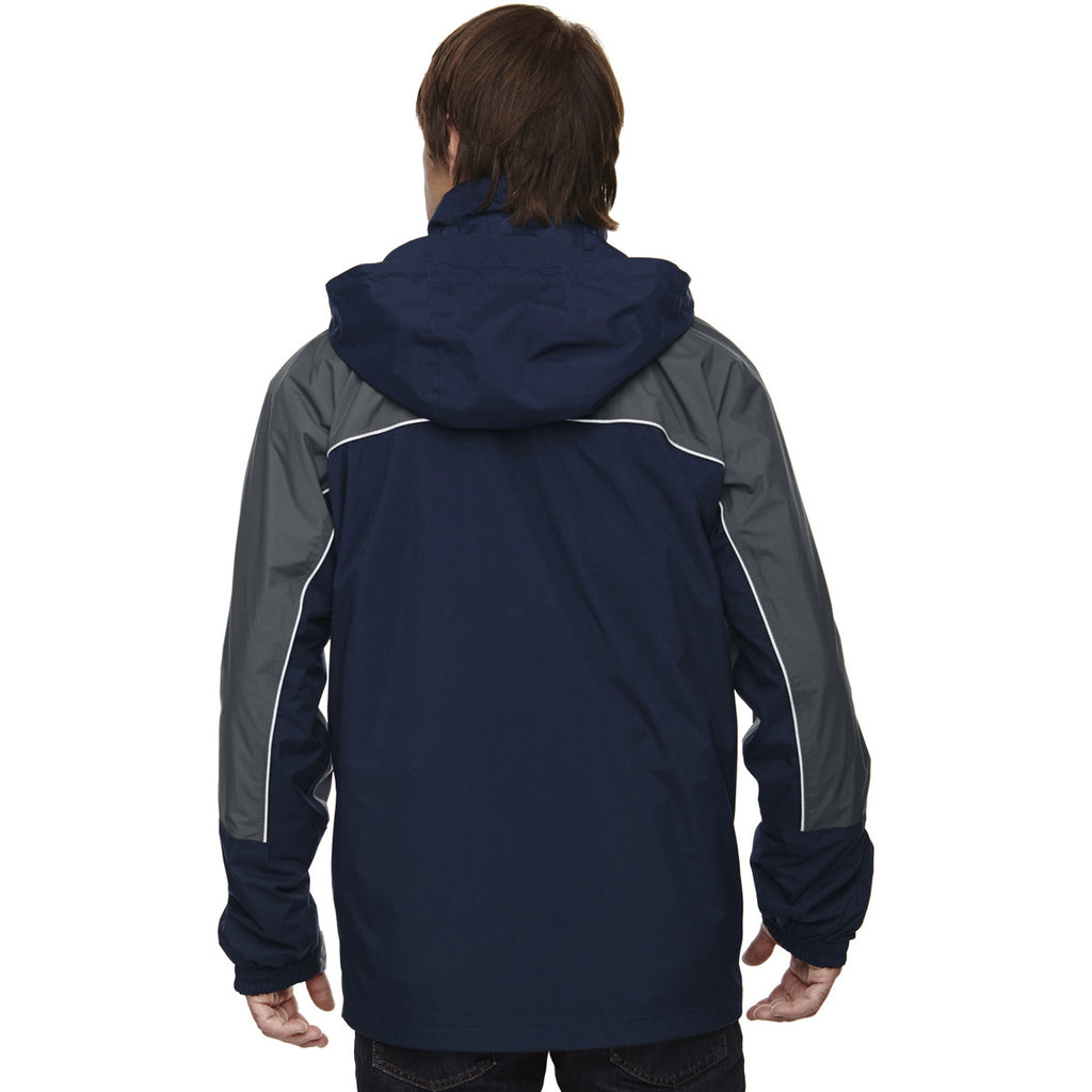 North End Men's Midnight Navy 3-in-1 Jacket with Piping