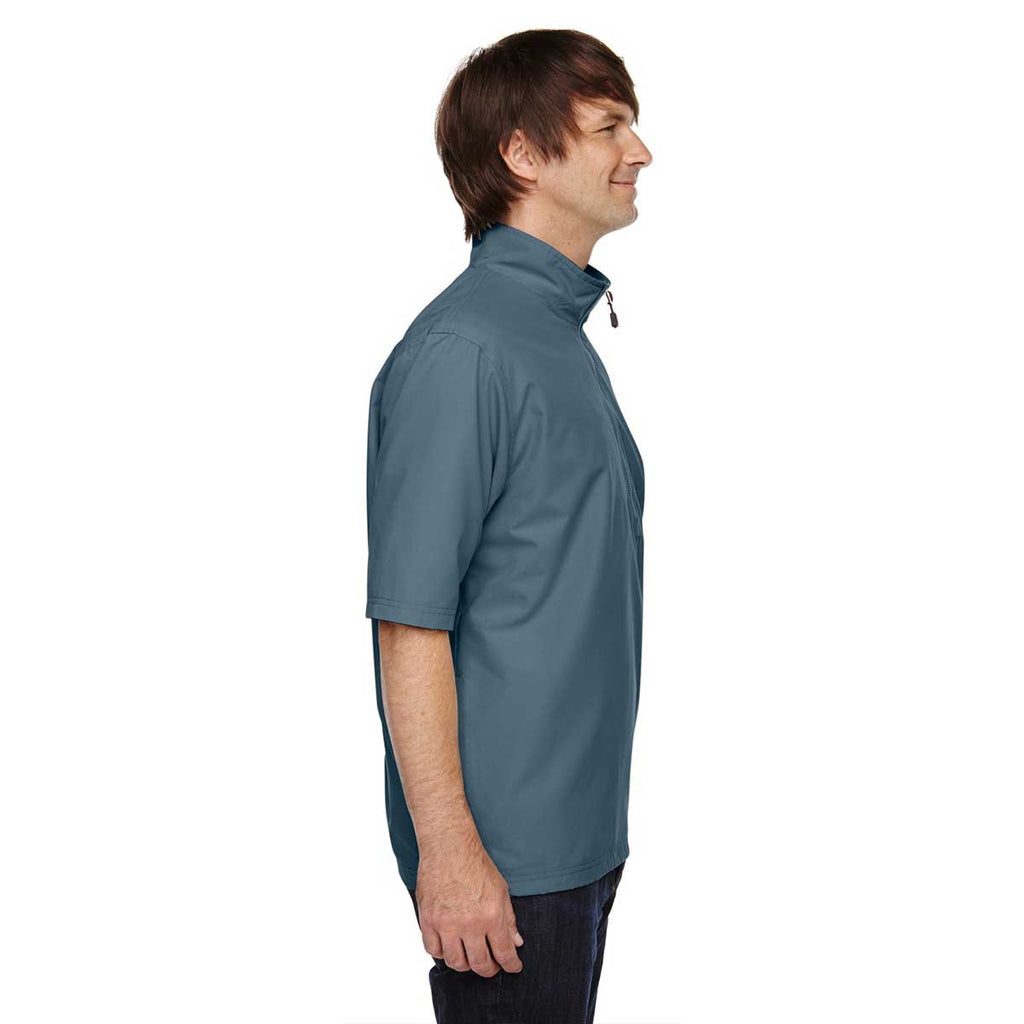 North End Men's Glacier Blue M·I·C·R·O Plus Lined Wind Shirt with Teflon