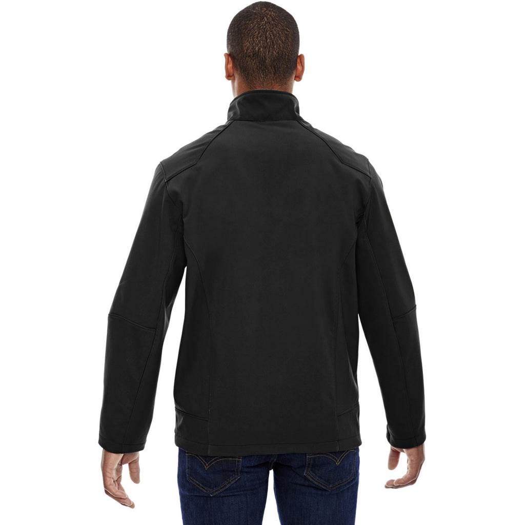North End Men's Black Compass Colorblock Three-Layer Fleece Bonded Jacket