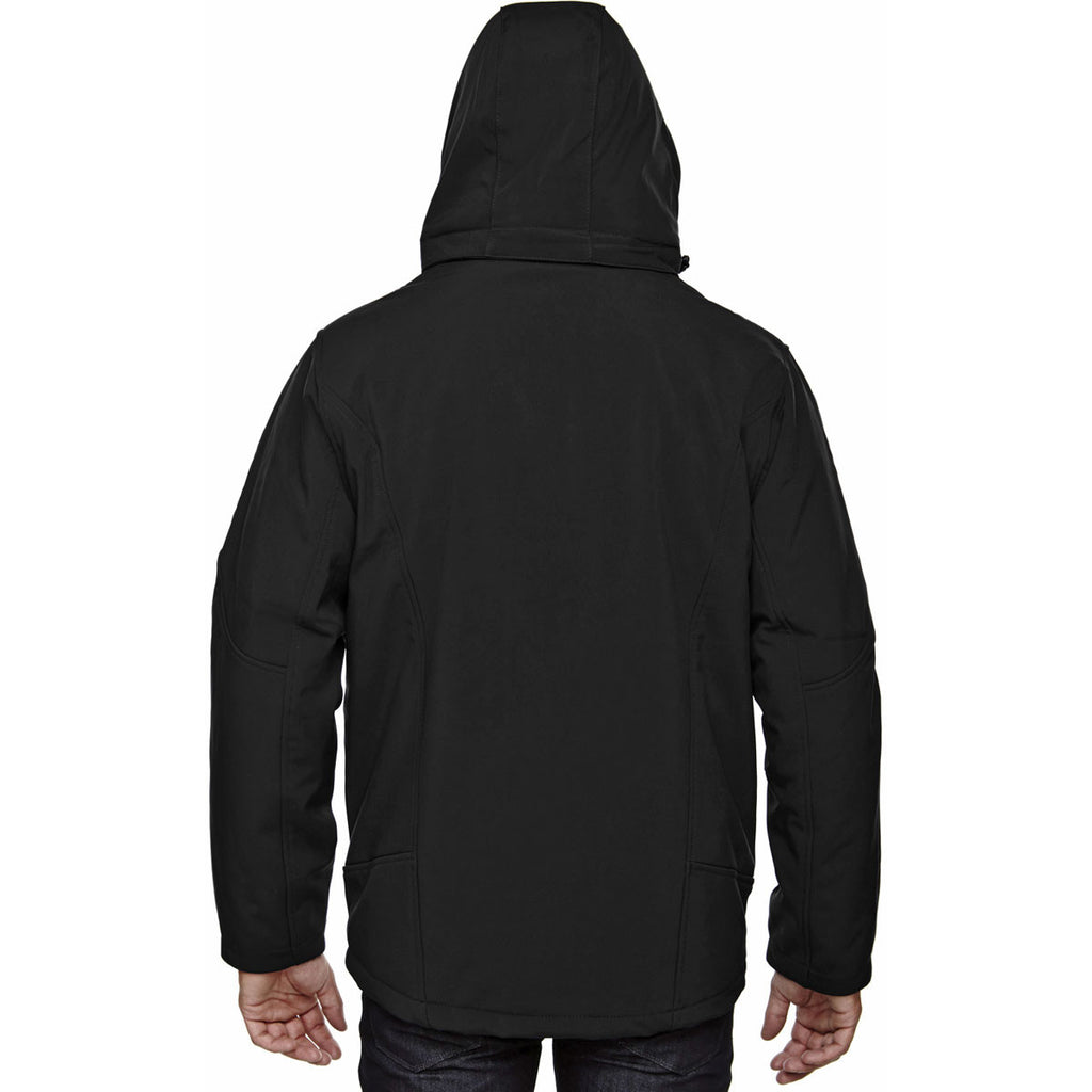 North End Men's Black Glacier Insulated Three-Layer Jacket with Detachable Hood