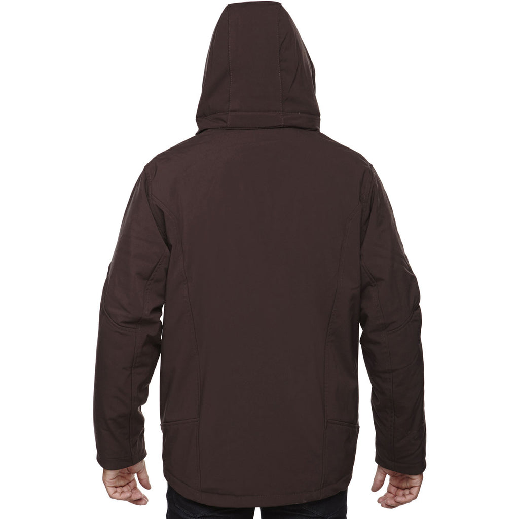 North End Men's Dark Chocolate Glacier Insulated Three-Layer Jacket with Detachable Hood