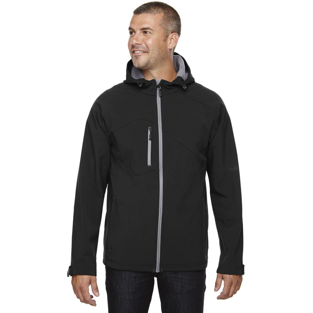 North End Men's Black Prospect Two-Layer Fleece Bonded Soft Shell Hooded Jacket