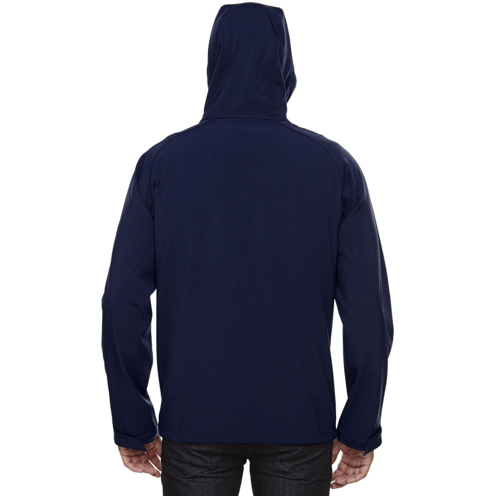 North End Men's Classic Navy Prospect Two-Layer Fleece Bonded Soft Shell Hooded Jacket