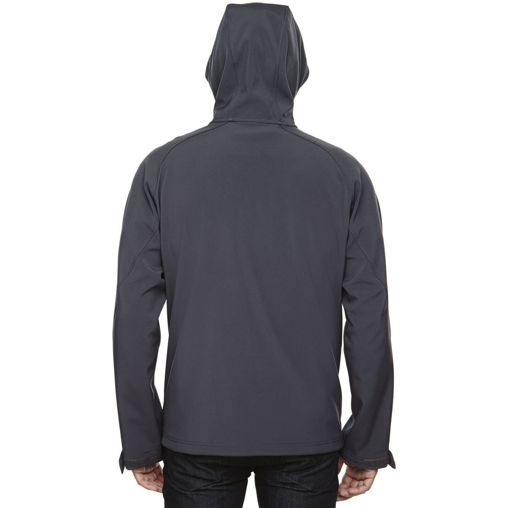 North End Men's Fossil Grey Prospect Two-Layer Fleece Bonded Soft Shell Hooded Jacket