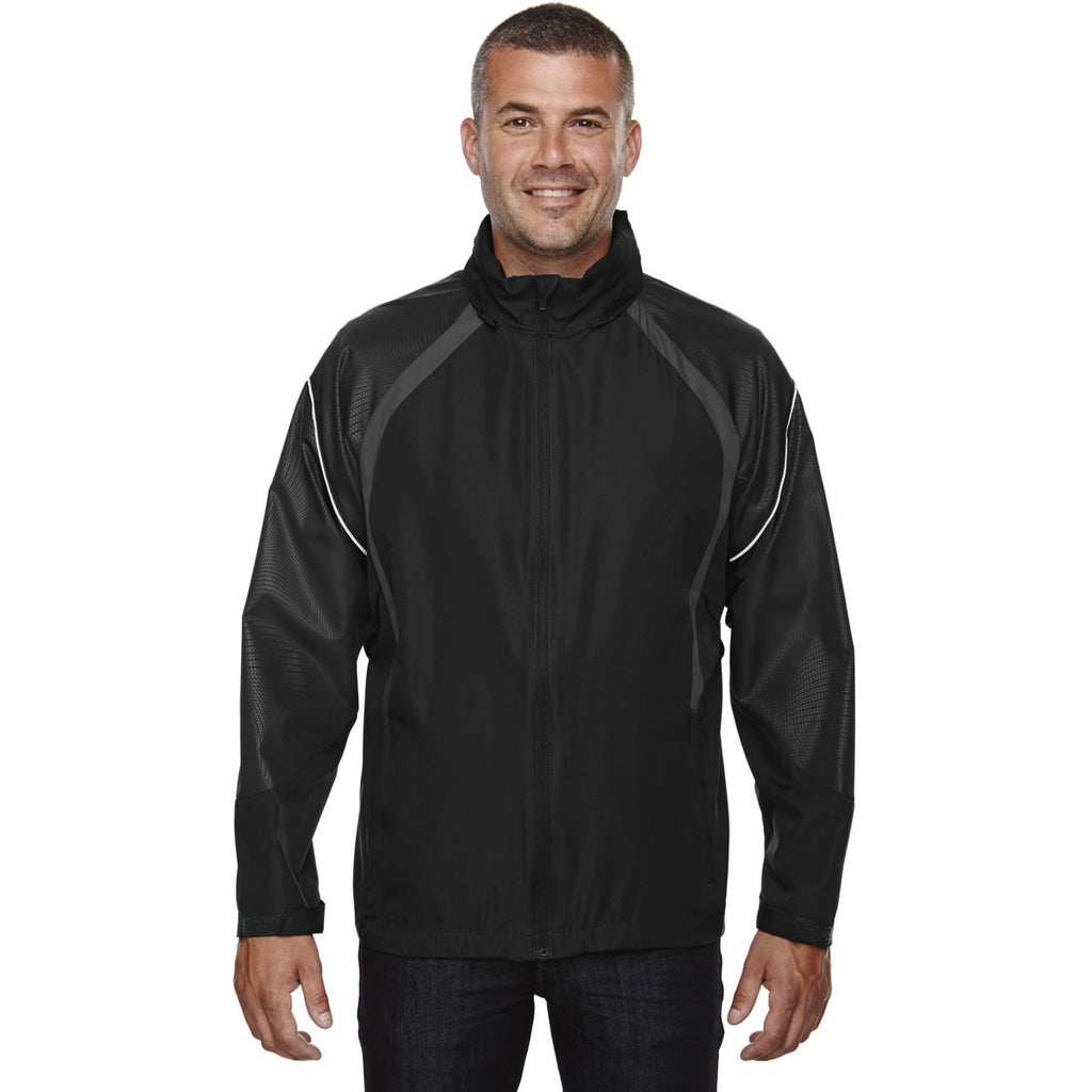 North End Men's Black Sirius Lightweight Jacket with Embossed Print