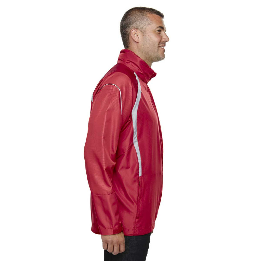 North End Men's Olympic Red Sirius Lightweight Jacket with Embossed Print