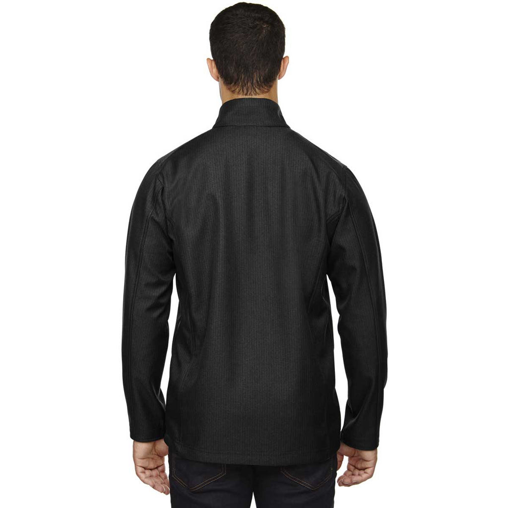 North End Men's Black City Textured Three-Layer Fleece Bonded Soft Shell Jacket