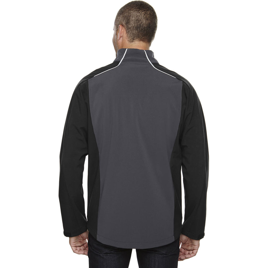 North End Men's Black Silk Terrain Colorblock with Embossed Print