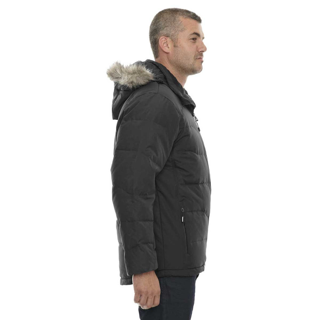 North End Men's Black Boreal Down Jacket with Faux Fur Trim