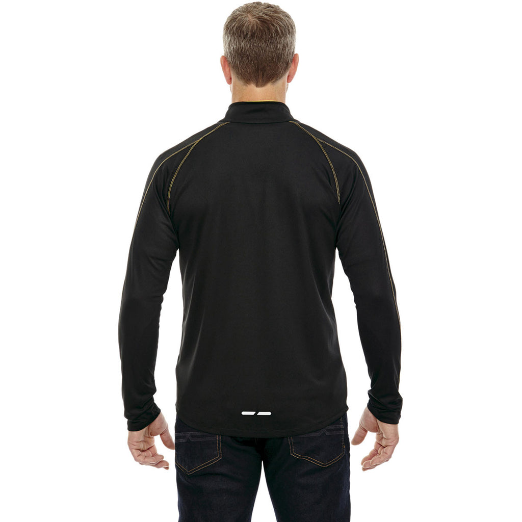 North End Men's Black/Campus Gold Radar Half-Zip Performance Long-Sleeve Top