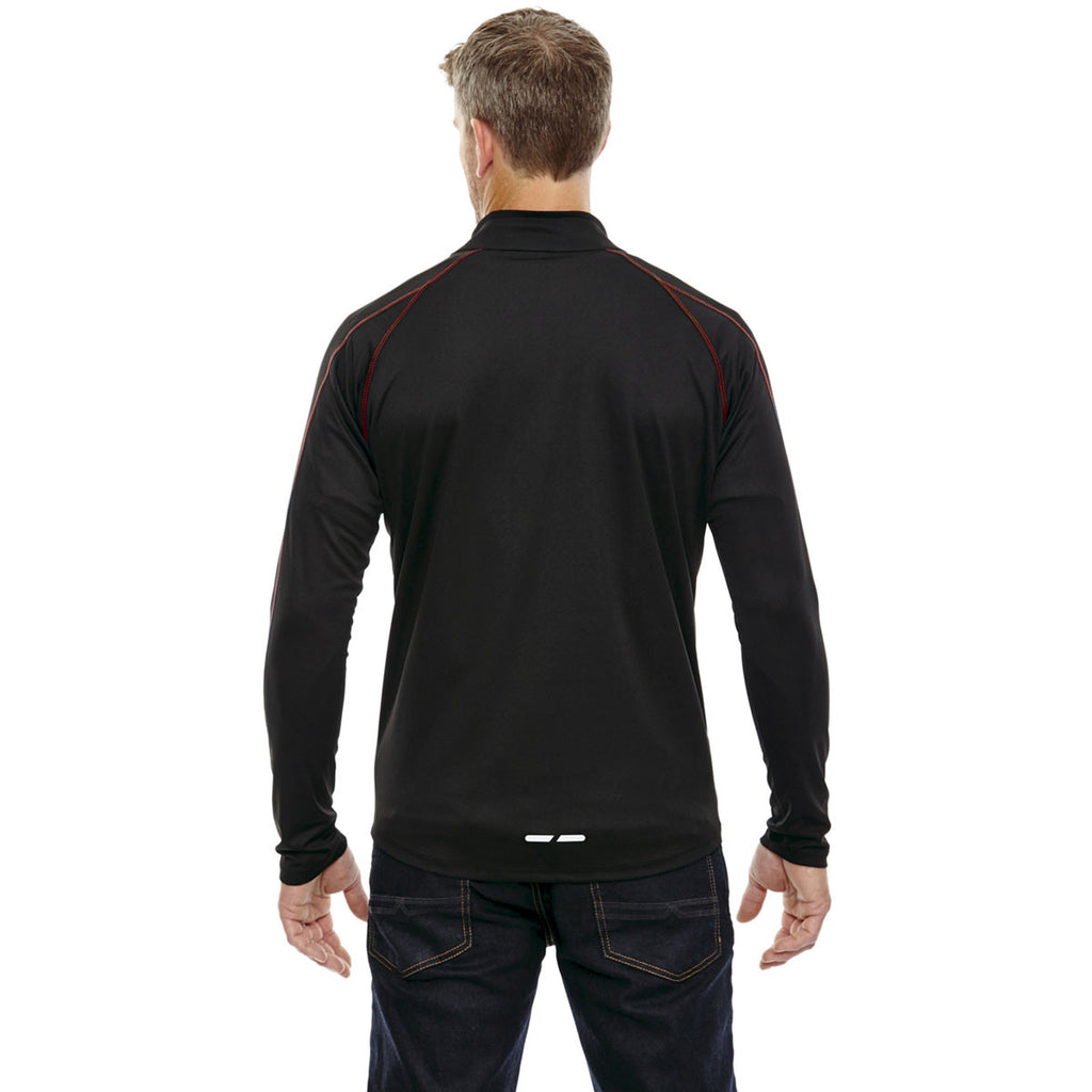 North End Men's Black/Classic Red Radar Half-Zip Performance Long-Sleeve Top