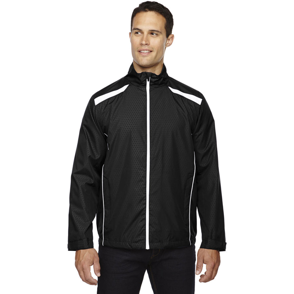 North End Men's Black Tempo Lightweight Jacket with Embossed Print