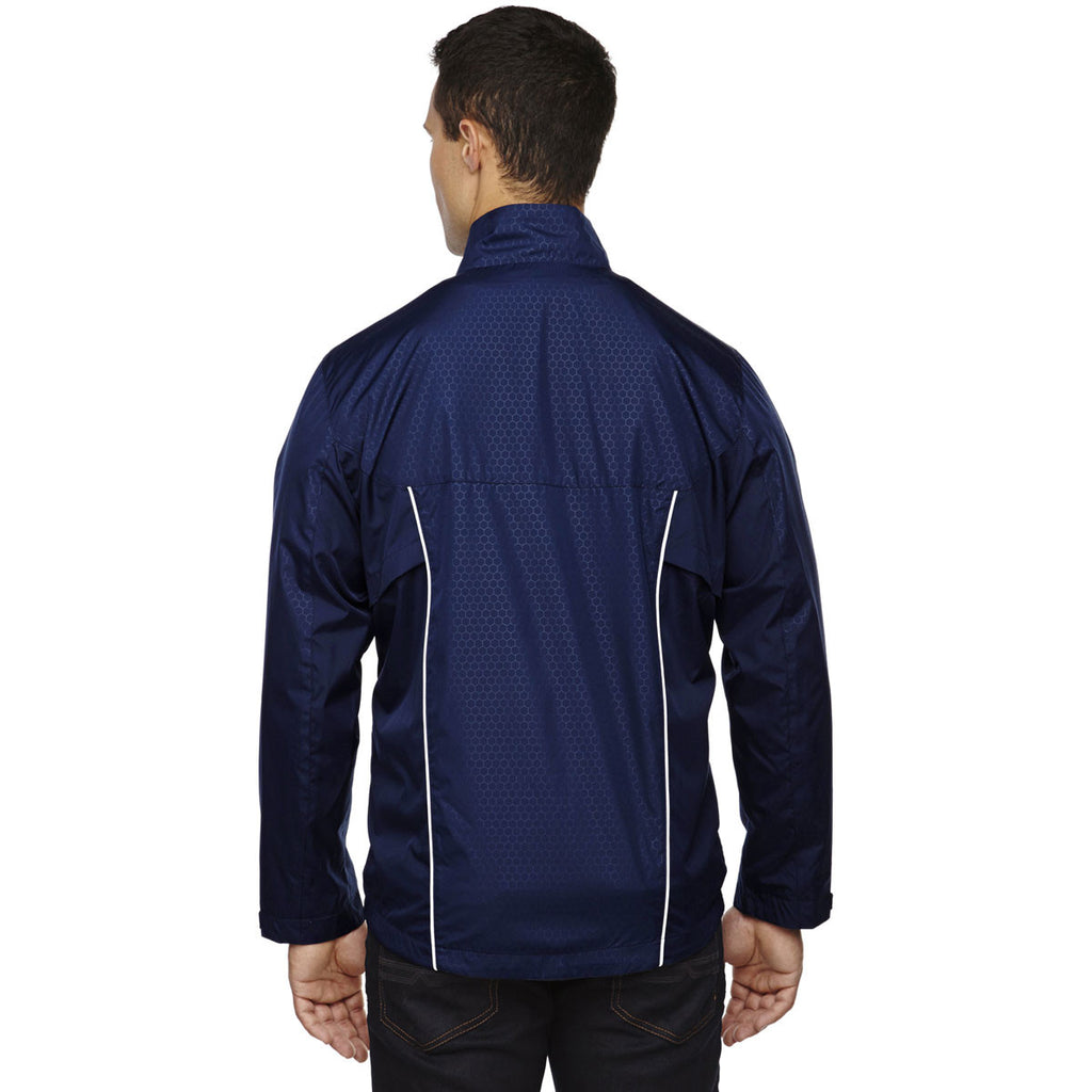 North End Men's Classic Navy Tempo Lightweight Jacket with Embossed Print