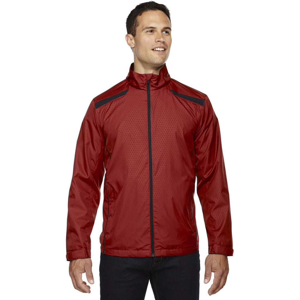 North End Men's Classic Red Tempo Lightweight Jacket with Embossed Print